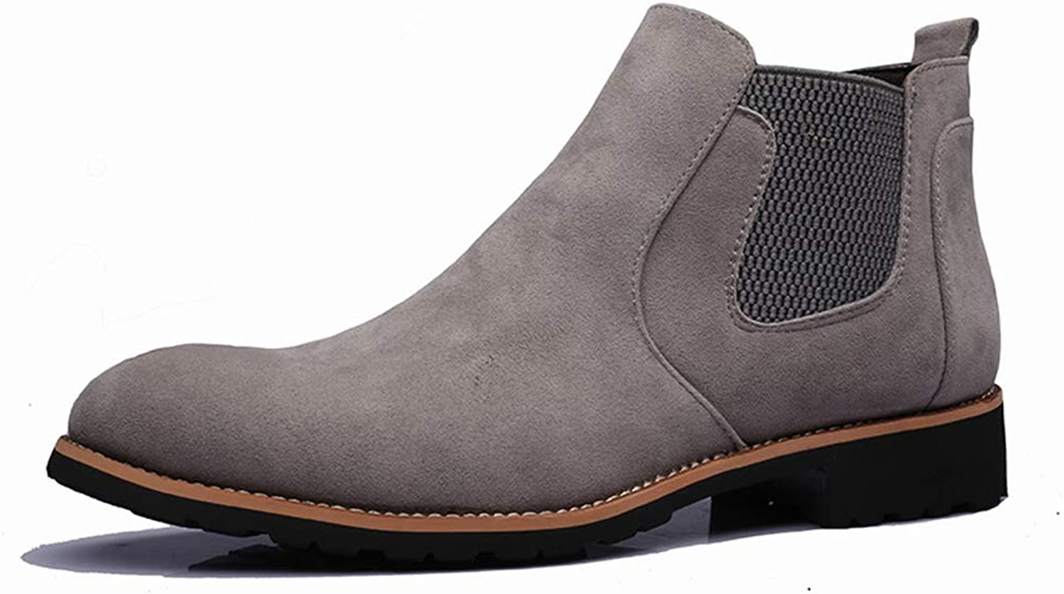 ZSXWIN Men Suede Chelsea Ankle Chunky Low Heel Martin Boots