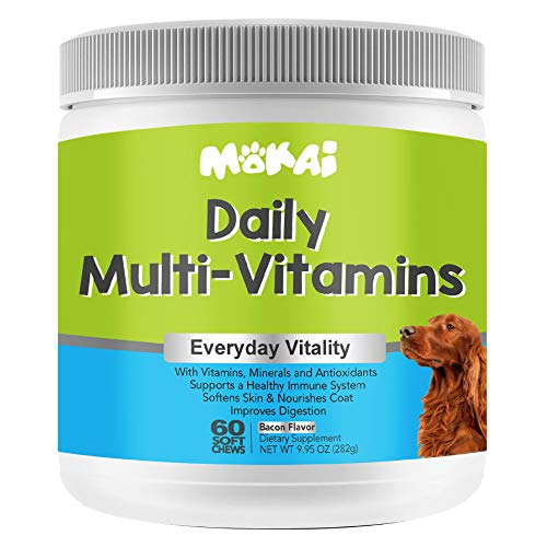 MOKAI Daily Multivitamins for Dogs of All Ages | Natural Dog Vitamins and Supplements for a Strong Immune System and Healthy Nervous System with Minerals and Antioxidants - 60 Chewable Treats