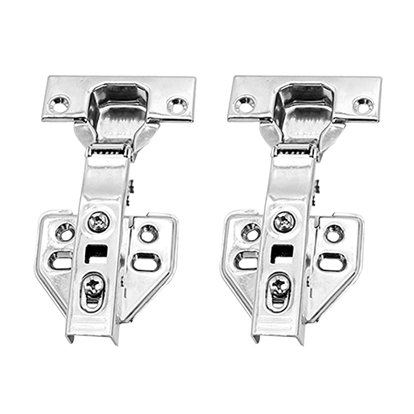 2PCS Kitchen Cabinet Wardrobe Door Hinge, 14-22mm 201 Stainless Steel Hydraulic Hinge Kitchen Folding Combination Door Inset Hinge with Screws - Straight Arm Full Cover