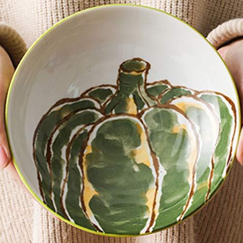 Vajilla Japonesa, Plato para el hogar, Plato de Bola de Masa, cerámica Creativa, Plato Hondo de patrón Vegetal(Color:22cm,Size:B)