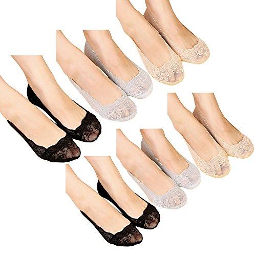 Femme Lot de 6 Paires Chaussettes Anti-dérapantes Invisible Basse Footies de Ballet en Dentelle avec Protège Pied Silicone Socquettes (Taille Unique, 6 Paires)