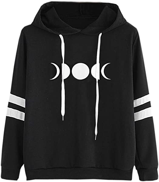 Ultramall Women Long Sleeve Women Gothic Style Sweatshirt Moon Star Printed Hoodie Casual Blouse