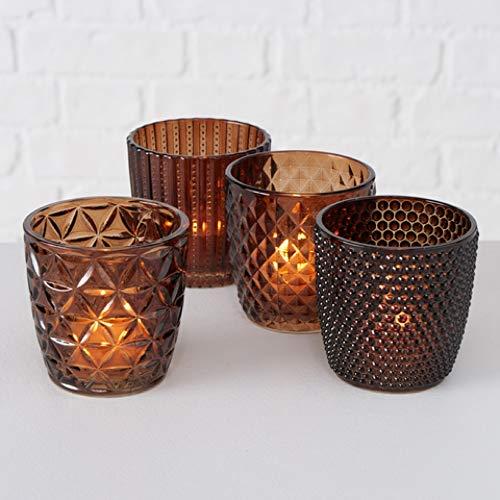 Boltze Teelichthalter 4erSet Teelichtgläser Deko-Windlicht Marilu braun Glas