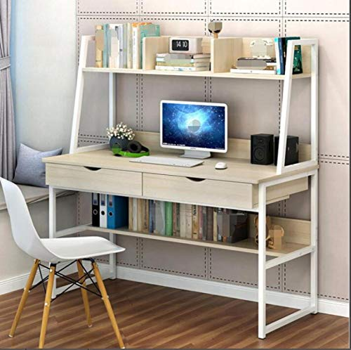 Computer Desk with Hutch & 2 Drawers & Bookshelf, 39-inch Home Office Desk Computer Workstation Writing Desk, Space Saving Design [UK IN STOCK] (Khaki)