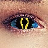 """Designlenses, Deux 22mm Full Sclera lentilles de couleur sclérotique Oeil de chat bleu et jaune sans correction pour halloween ou carnaval dragon costume + Récipient gratuit - """"Dragon King"""""""