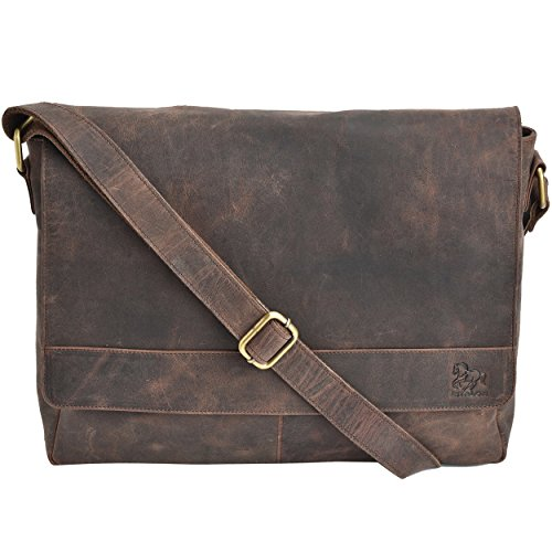 Leather Messenger Bag - 15 Inch Laptop Bag Office Briefcase for Men and Women (Brown Crazy Horse)