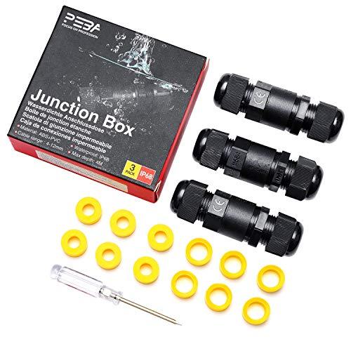 Kabelverbinder Wasserdicht IP68 Verbindungsbox 2-wege Verbindungsmuffe 4-polig für Ø4-12mm Kabeldurchmesser 3er-Pack schwarz