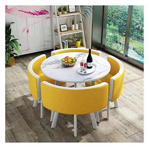 DYYD Dining Table and Chair Combination Modern Design Leisure Table 80cm Marble Round Table Simple Style Home Balcony Living Room Bedroom Office Reception Desk and Chair Set 1 Table and 4 Chairs