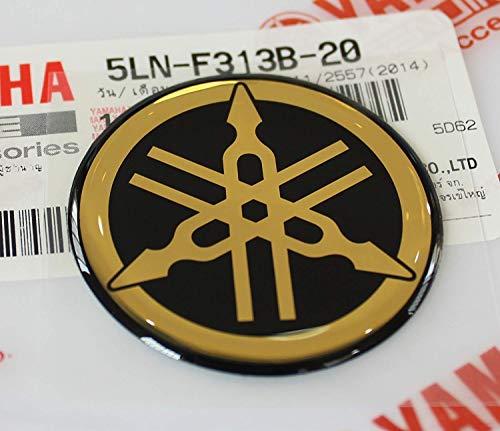 40mm Durchmesser Yamaha Stimmgabel Aufkleber Emblem Logo Schwarz Gold Erhöht Gewölbt Gel Harz Selbstklebend Motorrad Jet Ski /Atv / Schneemobil