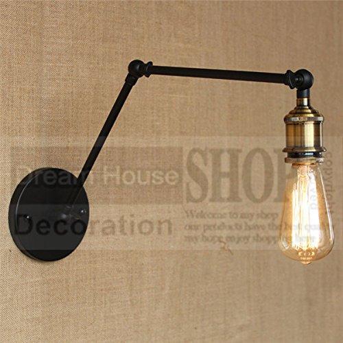 5151BuyWorld Loft industriële wandlampen, vintage-nachtlampje, geen lampshade E27 peertjes 110 V/220 V, twee lange verstelbare arm