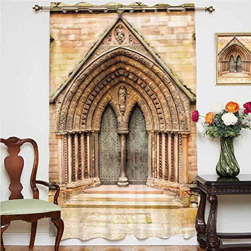 Cortina opaca de estilo rústico para puerta medieval de la edad media con decoración gótica, con parte trasera térmica de cristal deslizante, panel individual de 160 x 213 cm, para vidrio Doo