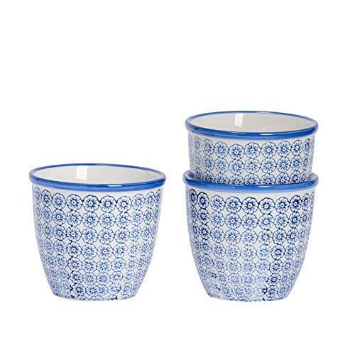 Nicola Spring Macetero de Porcelana - para Exteriores e Interiores - Estampado Floral Azul - Pack de...