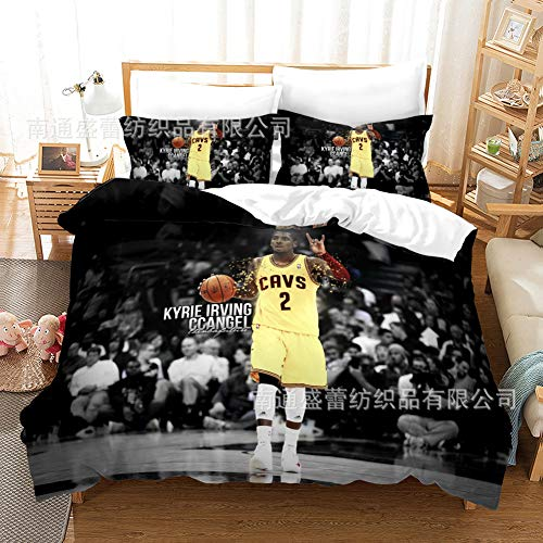 DDTETDY NBA KYRIE IRVING STAR STAR STAREGERS HOGAR Ropa de cama 3 pieza Conjunto con cierre con cremallera, 100% Microfibra Fanáticos Fanáticos de baloncesto 3D Imprimir 1 Funda de edredón 2 Pillow Sh