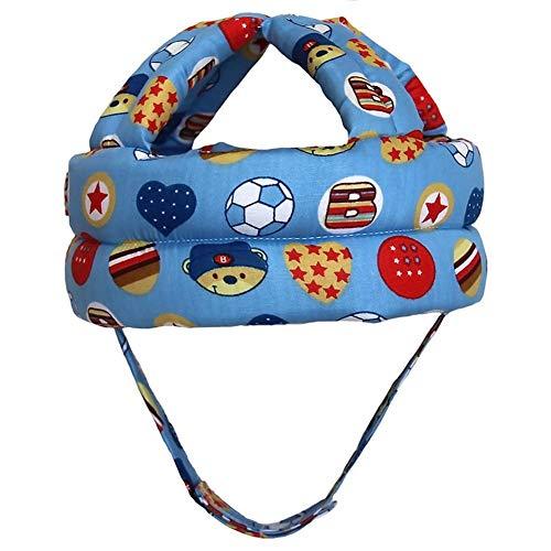 Mooie babyhaak strik magische stickers beugel kinderen verstelbare anti-botsingshut-kind-hoofdbeschermkap voor baby van 6 maanden tot 5 jaar Blauwe voetbal.