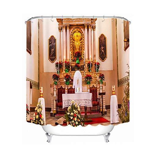llk Bad Kerstgordijn douche douche in kerkenbad Pop gordijn 180*180