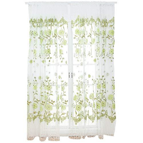 Sciarpa trasparente con stampa floreale 100 x 200 cm Sciarpa trasparente Pannelli per finestre trasparenti in voile per tende per camera da letto(verde)