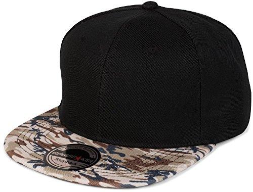 styleBREAKER Snapback Cap mit Camouflage Print am Schild, Baseball Cap, verstellbar, Unisex 04023042, Farbe:Schwarz/Beige-Braun