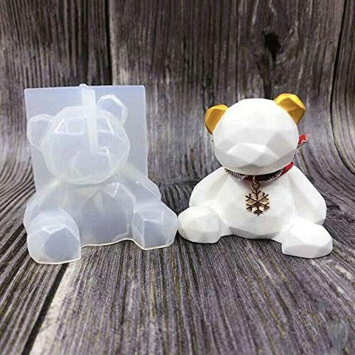 2 Pack 3D Bear Silicone Mold Epoxy Resin Casting Moulds Mirror Geometry Ornament DIY Crafts Tool for Handmade Candle, Resin Crafts DIY