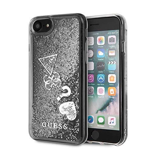 Guess - Carcasa rígida para iPhone SE (2020), iPhone 8 y iPhone 7, carcasa rígida de PC/TPU con purpurina líquida, con encanto plateado, fácil de poner, protección contra caídas, licencia oficial.