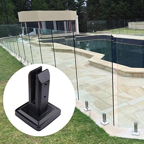 TARTIERY Edelstahl Glasklemme Glaszapfen Post Balustrade Treppen Geländer Pool Balkon Zaun Boden Glas Montagehalterungen Treppenhalterungen (schwarz lackiert) Usual