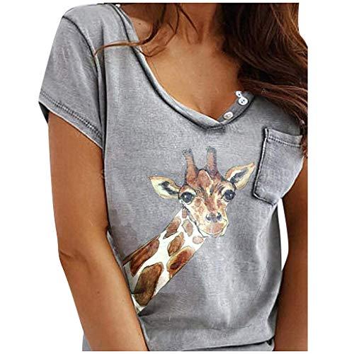 Yesgirl Mujer Verano Patrón De Impresión De Colorful Giraffe Print Camiseta De Manga Corta Casual Loose Shirt Tops Redondo Cuello Blusa Camiseta H Gris M