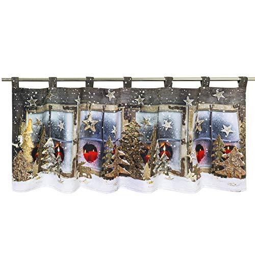 Tischdeckenshop24 LED Scheibengardine WINTERLANDSCHAFT für die Küche, beleuchtete Bistrogardine, 45x120 cm, Moderne und transparente Gardine zu Weihnachten
