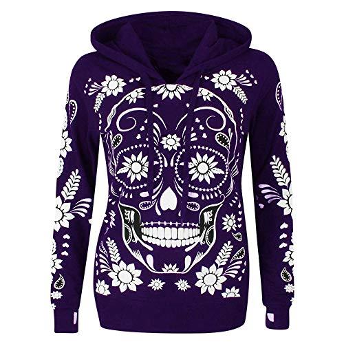 VECDY Damen Pullover Fashion Tshirt Frauen Tops Hoodie Plus Size Langarm Skull Print Kapuzenpullover Bluse Tops Sweatshirt Mode Oberteil Jacke