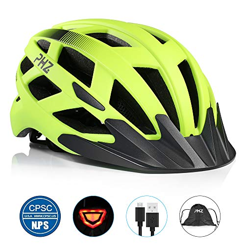 PHZ. Adult Bike Helmet CPSC Certified with Rechargeable USB Light, Bicycle Helmet for Men Women...