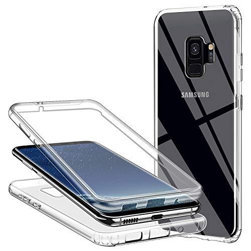 Funda para Samsung Galaxy S9 Plus/S9+, 360 Grados Protección Transparente Ultra Slim Doble Carcasa TPU Silicona y Dura PC Protectora Suave Case Resistente Anti-Arañazos Anti-Choques, Transparente