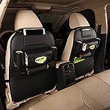 TOCGAMT 2 Pack PU Leather Car Backseat Organizer (Black)