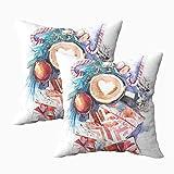 Fundas de almohada, 2 piezas de invierno Año Nuevo Navidad Bodegón Acuarela 45.7 x 45.7 cm, fundas de almohada decoración del hogar, fundas de almohada con cremallera para sofá