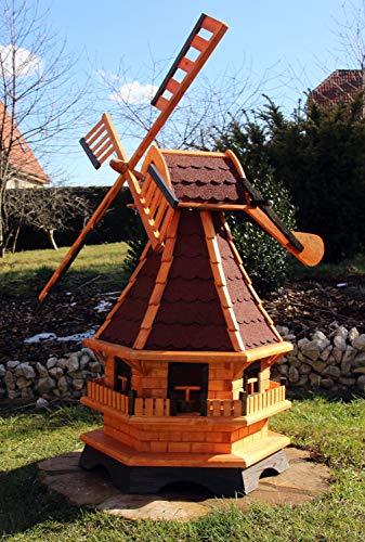XXL 1,30 m Windmühle für den Garten Solar, Farbe rot imprägniert 18