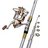 MIAO Caña de pescar, super duro de carbono de metal rueda de pesca mar pole set , 2.1m
