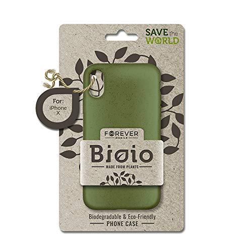 FOREVER Hülle Kompatibel mit iPhone X/XS, Schutzhülle aus Biologisch Abbaubar Materialien, Bio Case Anti-Kratz, Stoßfestes Bumper, Umweltfreundliche Handyhülle, Rückseite Cover (Grün)