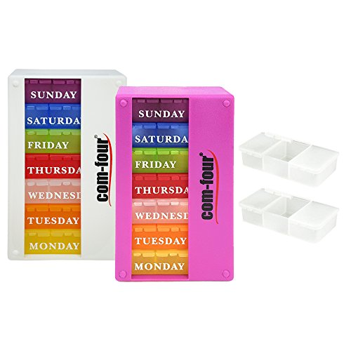 COM-FOUR® 2x medicijndispenser 7 dagen in ENGELS, wekelijkse dispenser voor ochtend - middag - avond + 2 pillendoos met 3 compartimenten voor onderweg [ENGELS] (wit/paars)