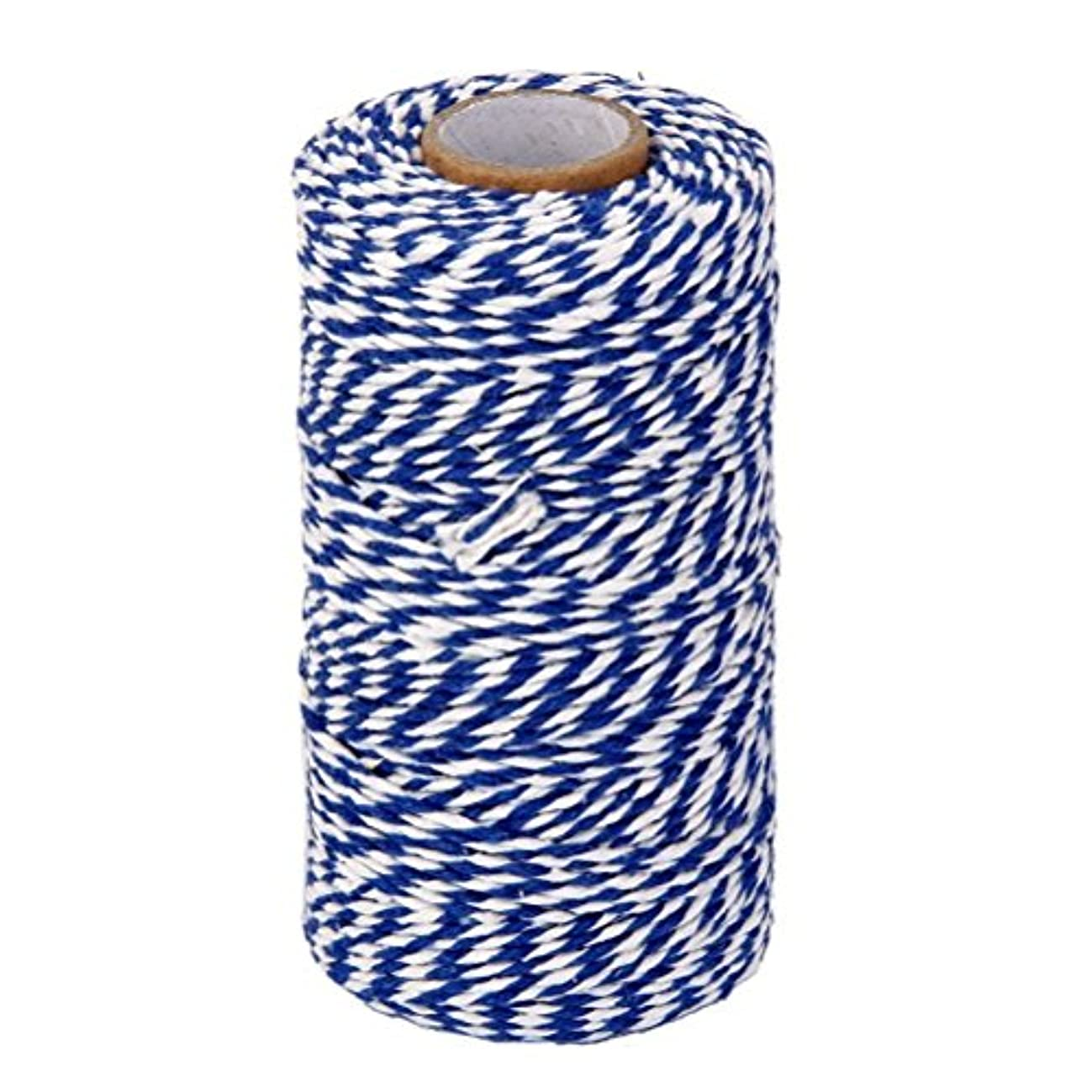 OxoxO 100YD White + Blue Wrap Gift Cotton Rope Ribbon Twine Rope Bottle Gift Box Line Design 2MM