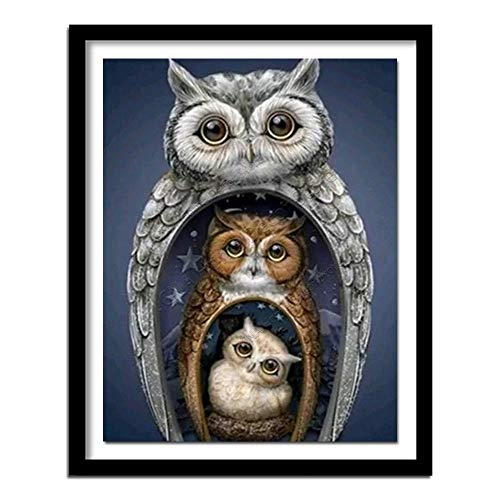 Likixin DIY 5D Diamond Painting by Number Kits Owl Diamond Painting for Adults/Kids,Full Drill Crystal Rhinestone Embroidery Cross Stitch Diamond Art Crafts for Home Wall Decor 40x50cm