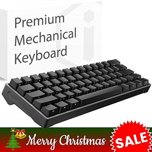 iQunix Lambo 62 Black Body with Black Keycaps Mechanical Keyboard, for Programming, Designing, Gaming, Works with Mac OS and Windows, Includes Your Choice of Cherry MX switches in Blue or Brown