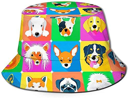 Bucket Hat Best Tie Dye Fischerhüte Sommer Wendepackbare Kappe für Männer Frauen-Hunderassen Profile Haustiere Fischerhut
