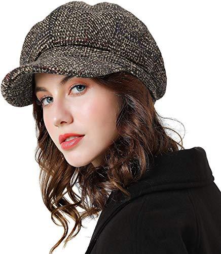 Womens Newsboy Cap Wool Visor Cabbie Fiddler...
