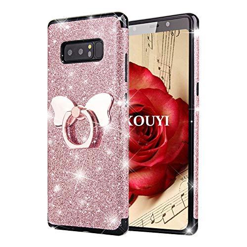 KOUYI Kompatibel mit Galaxy Note 8 Hülle, [3 in 1 Hybrid TPU + PC mit Glitzer Kunstleder] Glitzer Mode Bling Cute Bumper Handyhülle Shiny Glanz Schutzülle Schale Etui Tasche für Galaxy Note 8 (Rosa)