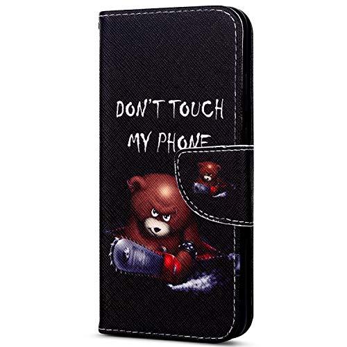 EUWLY Kompatibel mit Huawei Y7 2018 Handyhülle Bunt Leder Hülle Brieftasche Ledertasche Klapphülle Handy Tasche Flip Case mit Kartenfächer Magnet,Niedlich Karikatur Bär