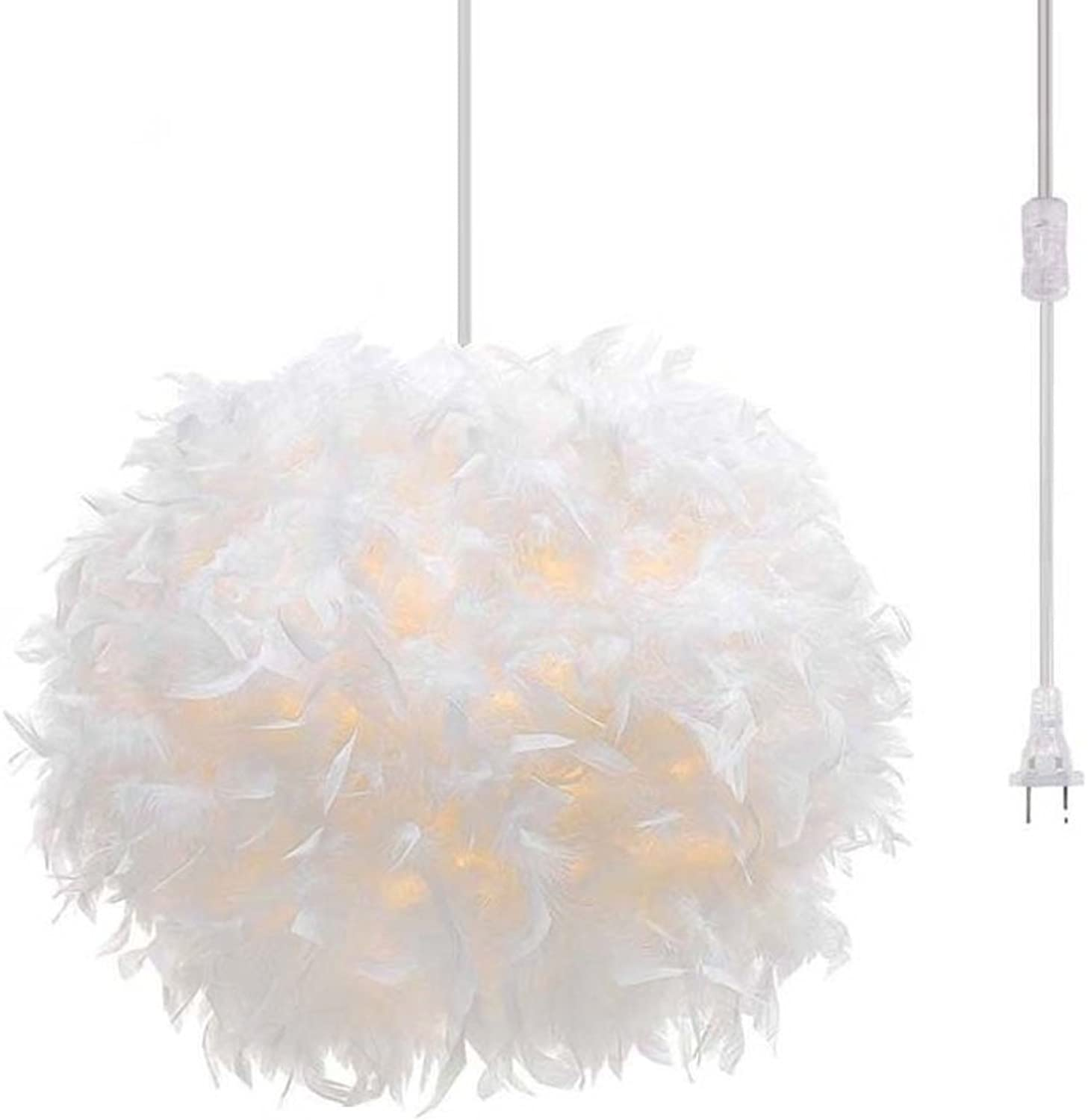 Surpars House Plug in Pendant Light White Feather Chandelier with 17' Cord and On off Switch in Line