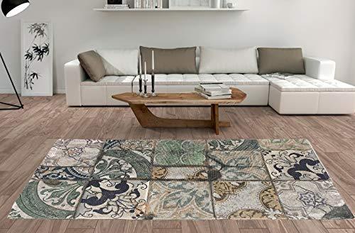 De'Carpet Alfombra Salón Dormitorio Moderna Algodón Lavable Estampada Mosaico Mint (100x140cm)