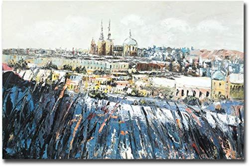 Lienzo De Impresión 60x90cm Sin Marco Cuadro abstracto del cartel del aceite del castillo en la nieve para la decoración del hogar de la sala de estar