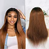 Arenshcx Lace Closure Wig 4x4 Ombre Human Hair Wig Straight Tow Tone Closure Wig Unprocessed Virgin Hair 130% Density Swiss Lace Closure Natural Hairline Ombre Wigs For Women 22 zoll