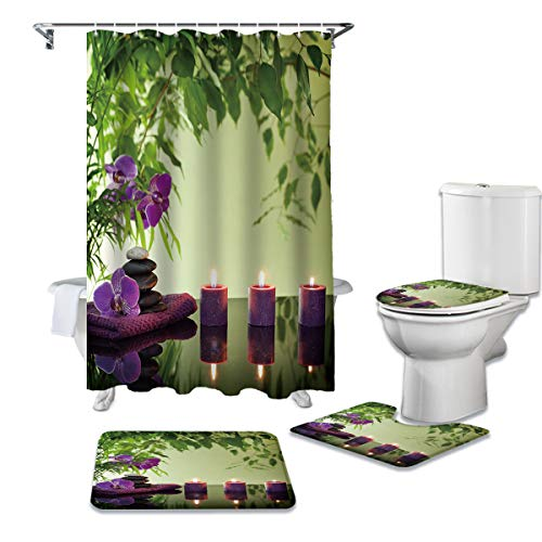 Cloud Dream Home 4 Pcs Shower Cuatain Sets with Non-Slip Rug Green Leaves Zen Themed Toilet Lid Cover Bath Mat Perfume Wax Candle 66 x 72 inch Shower Curtain with Hooks for Bathroom -Small