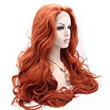 Melody Red Wigs Lace Front - Body Wave Middle Part 360# Color Synthetic Lace Front Wigs for Women 180% Density Half Hand Tied Heat Resistant Fiber Hair Dating Cosplay Gift 24 inch