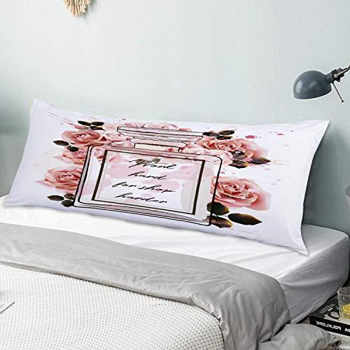CIKYOWAY Funda de Almohada Larga Hermosa Botella de Vidrio de Perfume Rosa de Moda y Rosas en Estilo Acuarela Protector de Almohada con Cremallera Transpirable Suave Antiarrugas 50x137cm