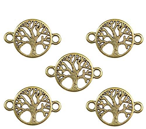 Sadingo Juego de 36 conectores para joyas, diseño de árbol de la vida, 22 x 15 mm, macramé colgante para hacer joyas